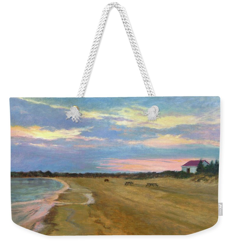 Oil Landscape Weekender Tote Bag featuring the painting Wades Beach Sundown Study II by Phyllis Tarlow