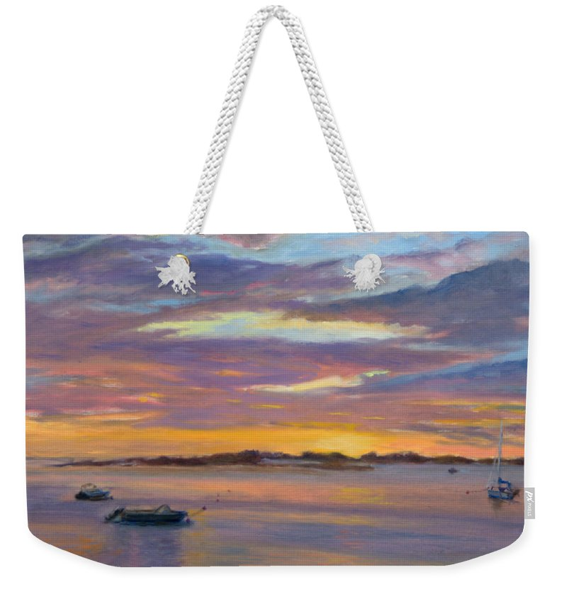 Landscape Weekender Tote Bag featuring the painting Wades Beach Sunset by Phyllis Tarlow