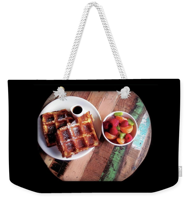 Breakfast Weekender Tote Bag featuring the photograph Waffles by AnaJyhv AnderDot