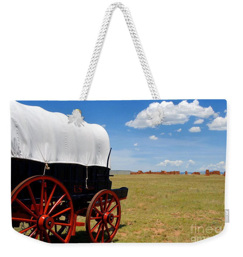 Fort Union New Mexico Weekender Tote Bag featuring the photograph Wagon At Old Fort Union by David Lee Thompson