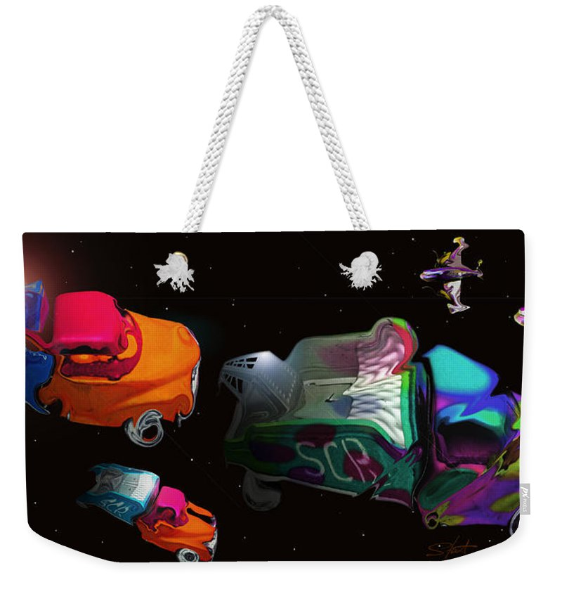 Trucks Weekender Tote Bag featuring the painting Wagon Train To The Stars 3 by Charles Stuart