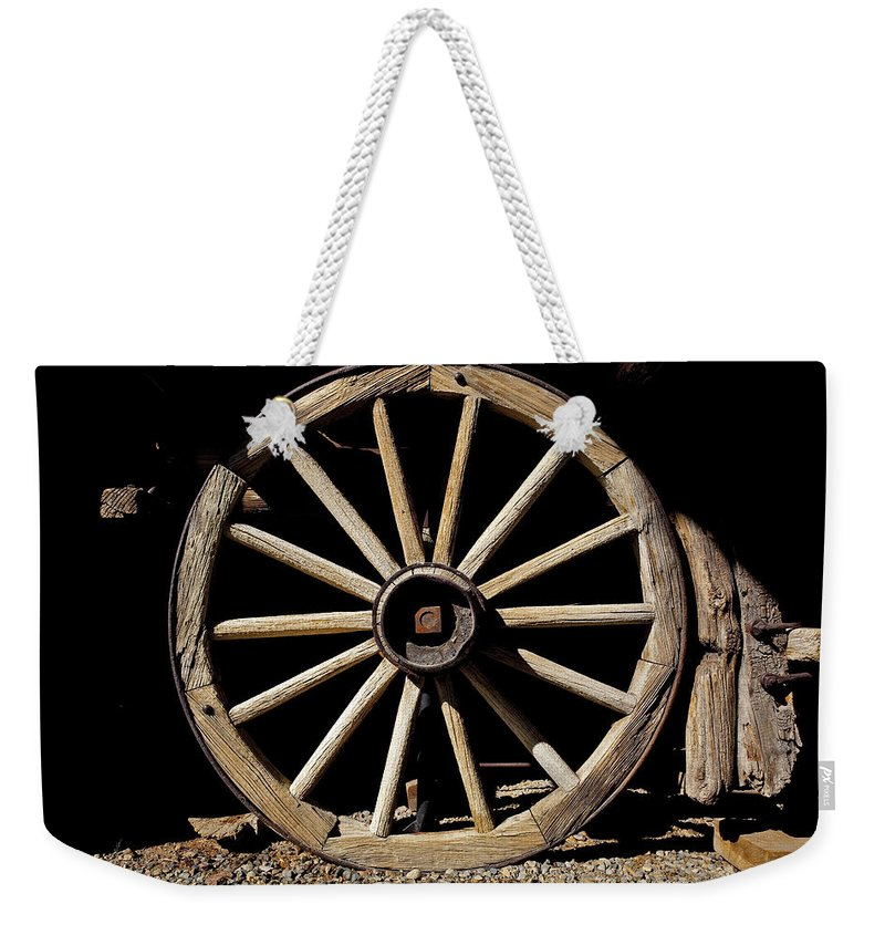 Wagon Wheel Weekender Tote Bag featuring the photograph Wagon Wheel Texture by Kelley King