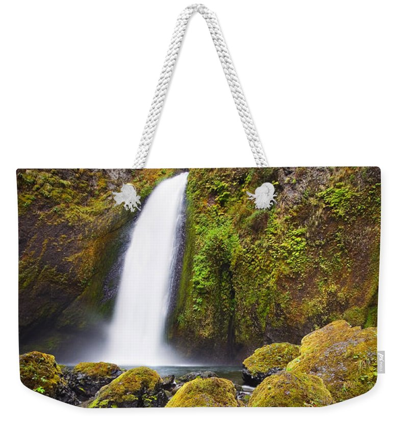 Waterfall Weekender Tote Bag featuring the photograph Wahclella by Mike Dawson
