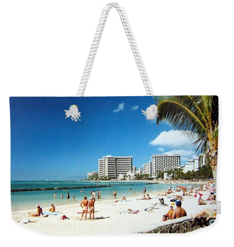 1986 Weekender Tote Bag featuring the photograph Waikiki Beach by Will Borden