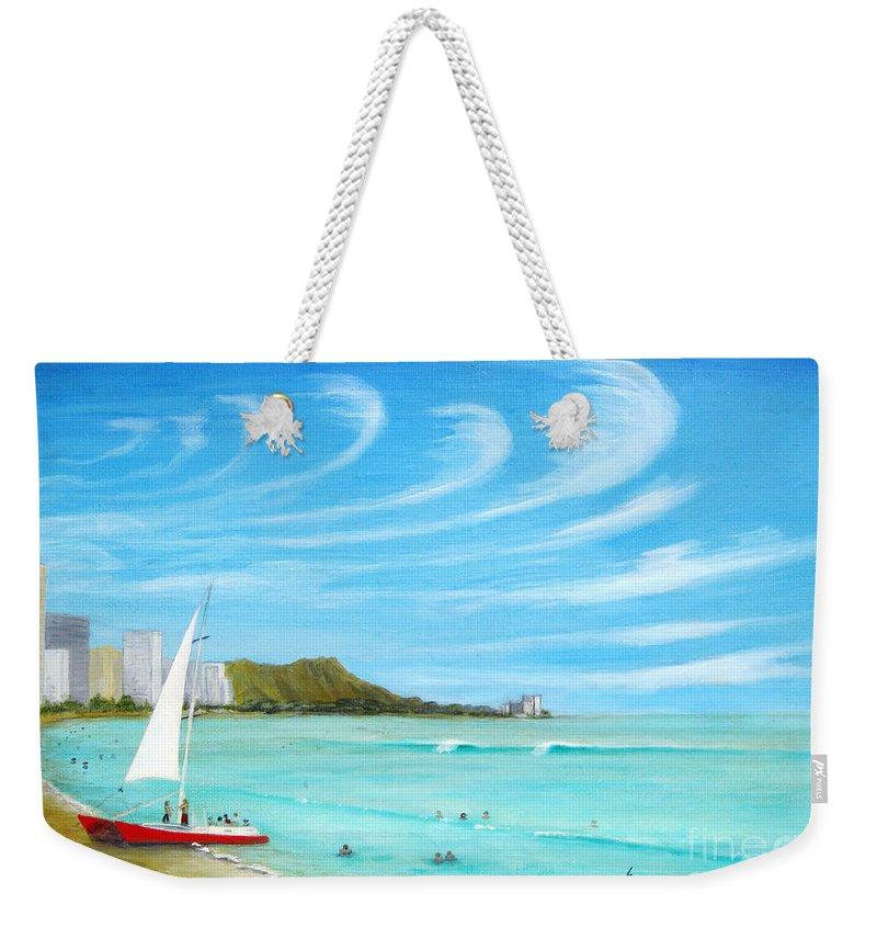 Waikiki Weekender Tote Bag featuring the painting Waikiki by Jerome Stumphauzer