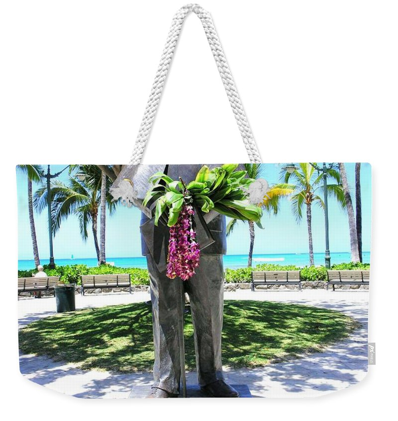 Statue Weekender Tote Bag featuring the photograph Waikiki Statue - Prince Kuhio by Mary Deal