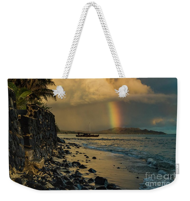 Waimanalo Rainbow Weekender Tote Bag featuring the photograph Waimanalo Rainbow by Mitch Shindelbower