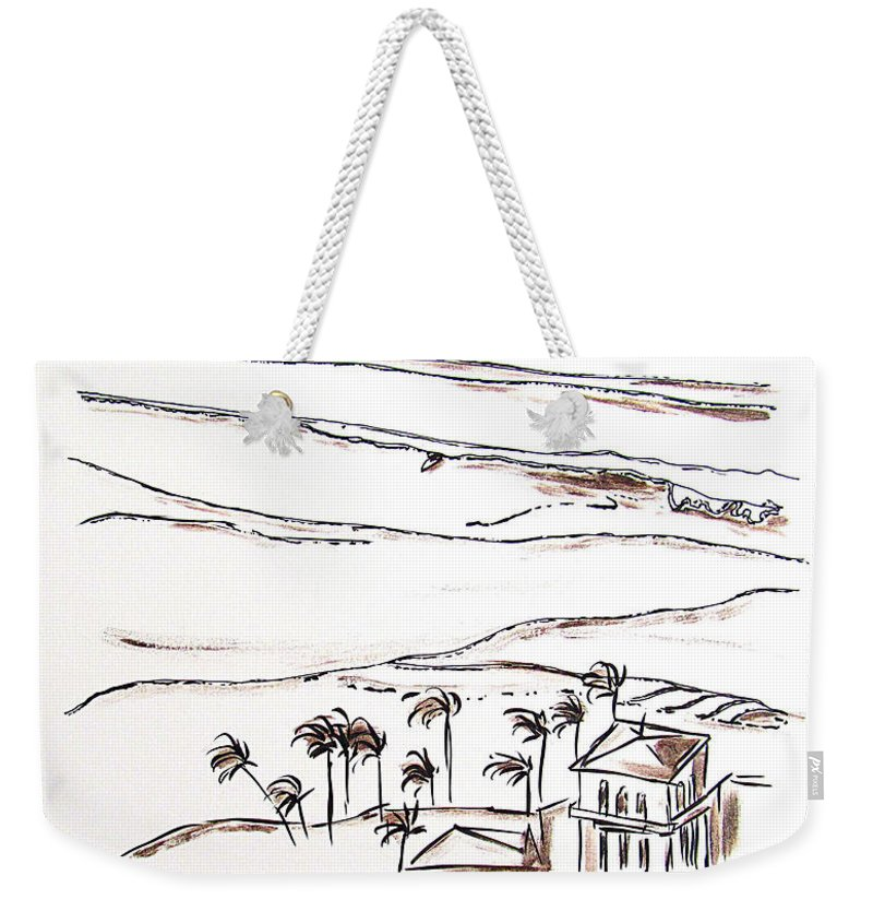 Surfing Weekender Tote Bag featuring the mixed media Waimea Bay Morning View by Jill Torres