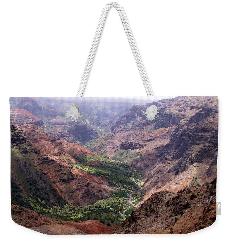 Waimea Weekender Tote Bag featuring the photograph Waimea Canyon 1 by Amy Fose