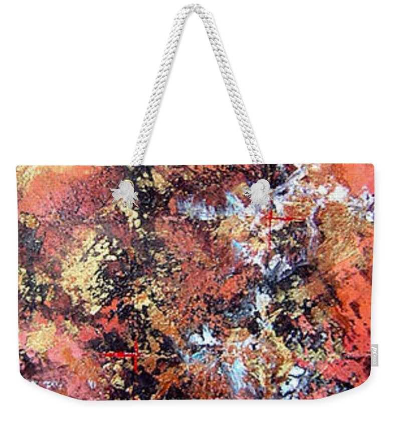 Tile Weekender Tote Bag featuring the painting Wait For Sleep by Shadia Derbyshire