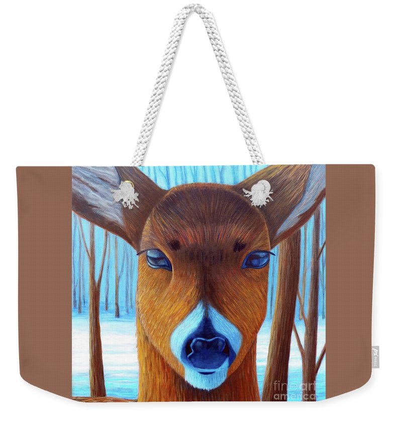 Deer Weekender Tote Bag featuring the painting Wait For The Magic by Brian Commerford