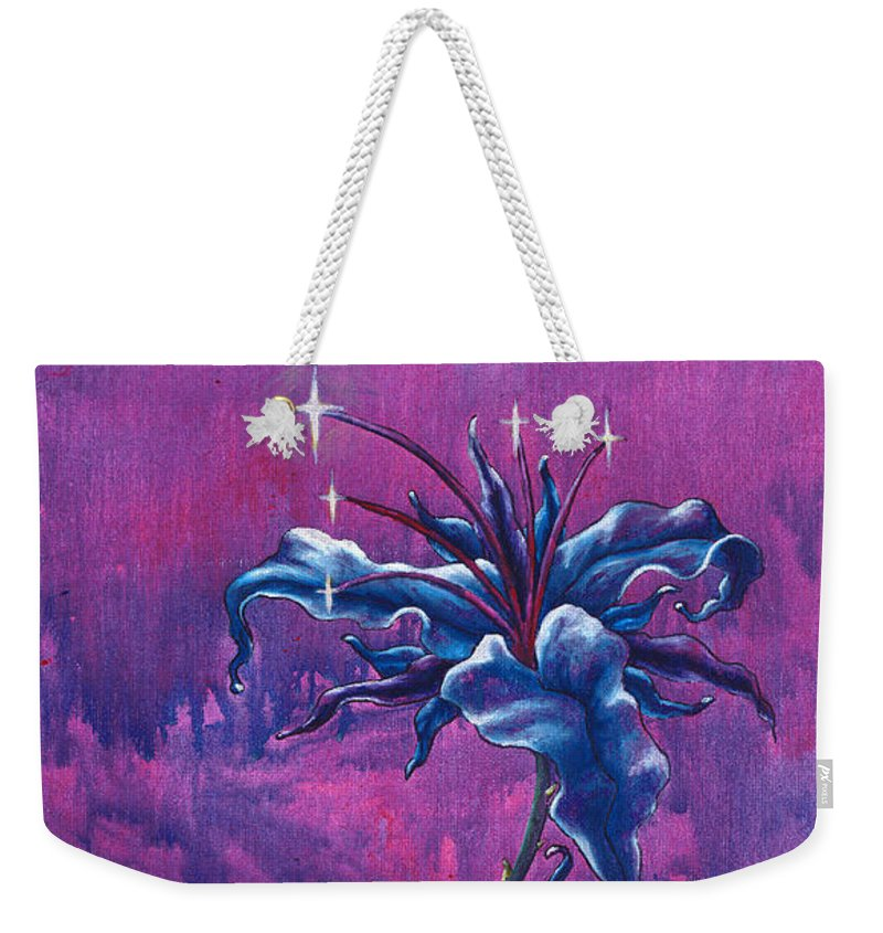 Lily Weekender Tote Bag featuring the painting Waiting Flower by Jennifer McDuffie