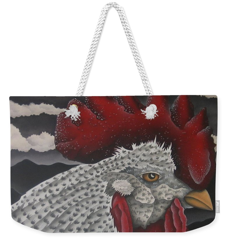 Rooster Weekender Tote Bag featuring the painting Waiting For Daybreak by Jeniffer Stapher-Thomas