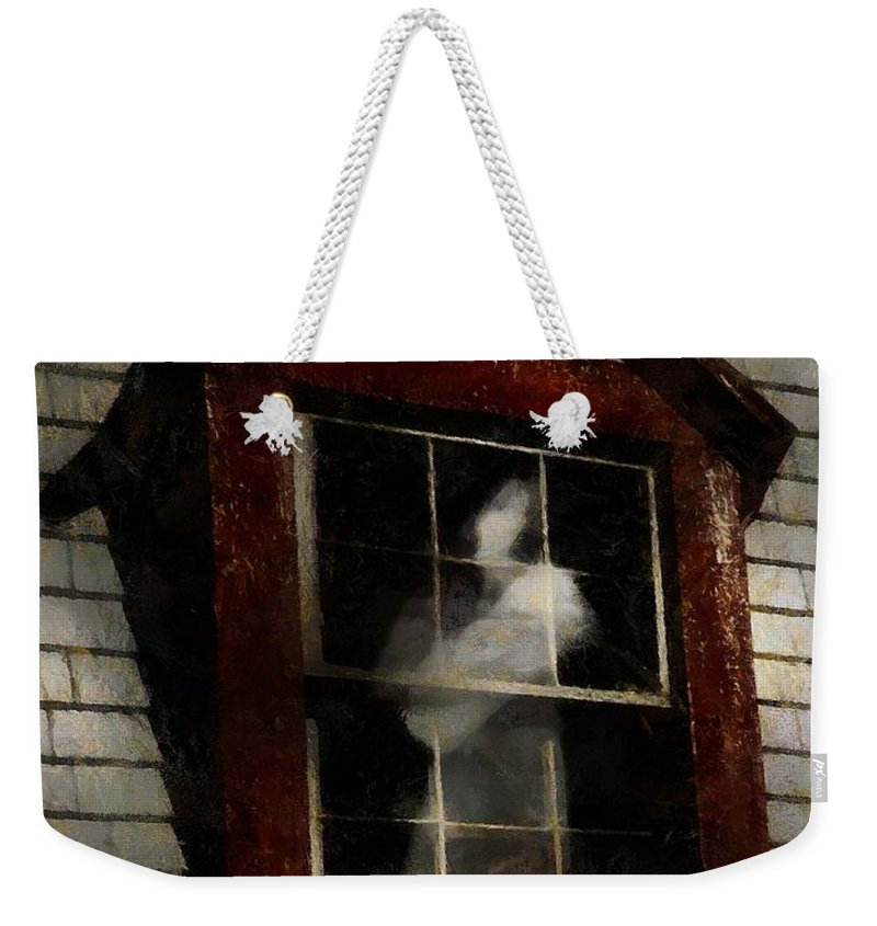 Window Weekender Tote Bag featuring the painting Waiting For Henry by RC DeWinter