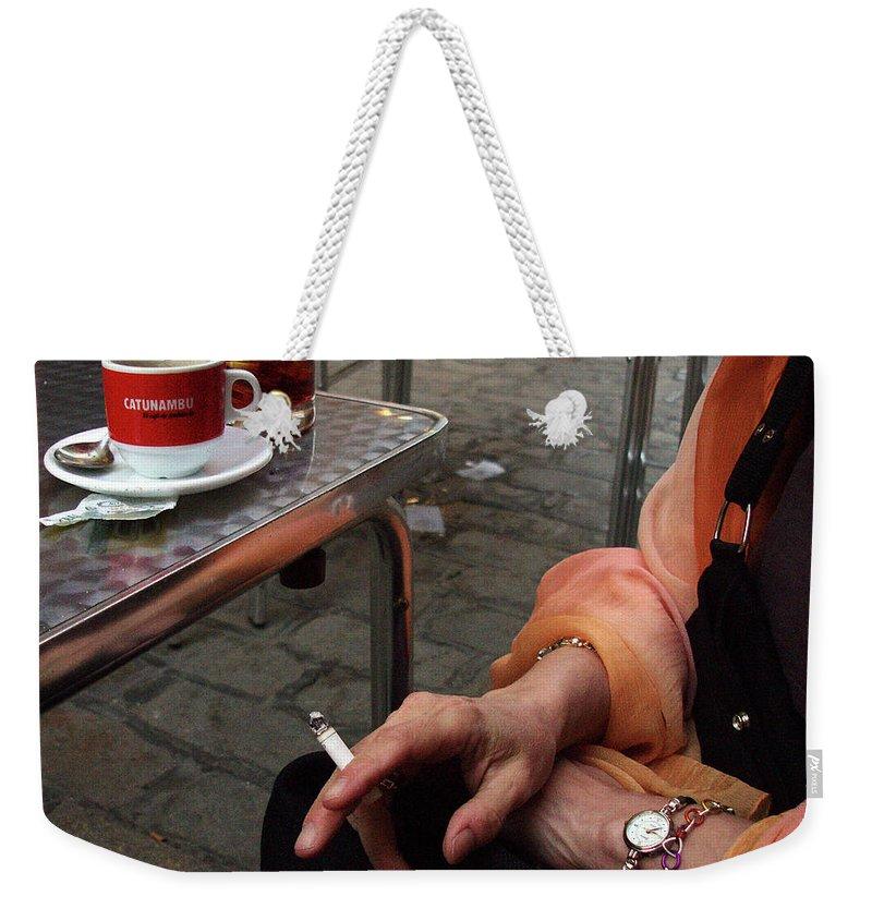 Cafes Weekender Tote Bag featuring the photograph Waiting For Her Lover by Guy Ciarcia