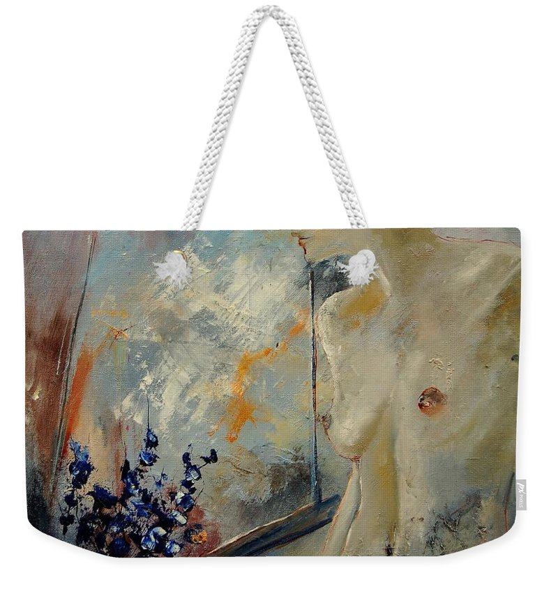Girl Weekender Tote Bag featuring the painting Waiting For Her Lover by Pol Ledent
