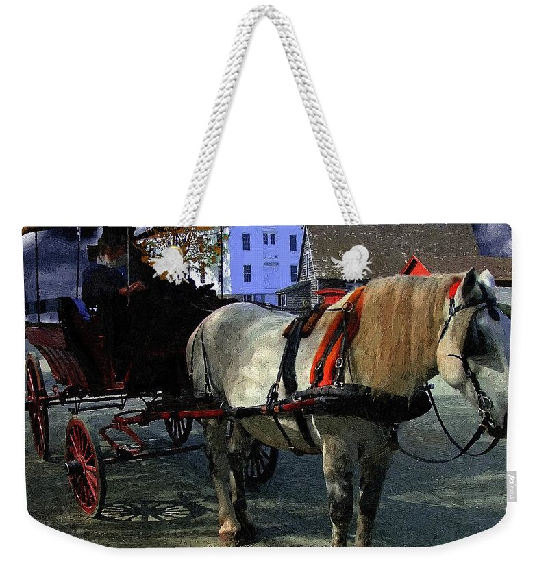 Horse Weekender Tote Bag featuring the painting Waiting For Madam by RC DeWinter
