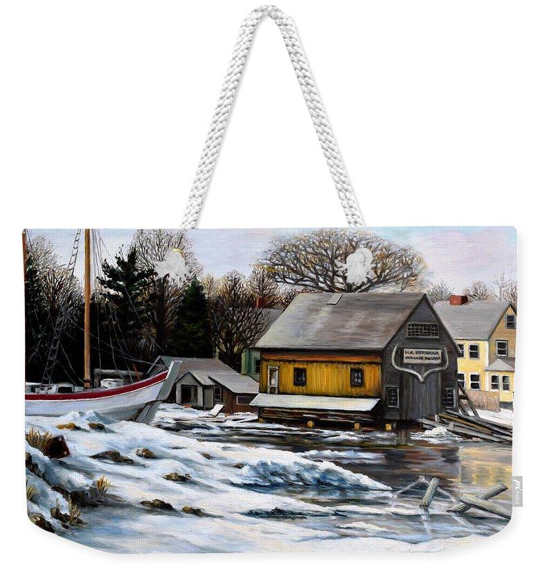 Essex Weekender Tote Bag featuring the painting Essex Boatyard, Winter by Eileen Patten Oliver