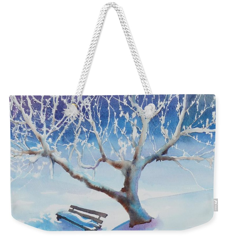 Snow Weekender Tote Bag featuring the painting Waiting For Spring by Ruth Kamenev