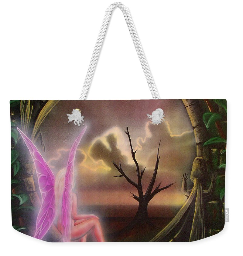 Fairy Weekender Tote Bag featuring the painting Waiting For Spring by Shaun McNicholas
