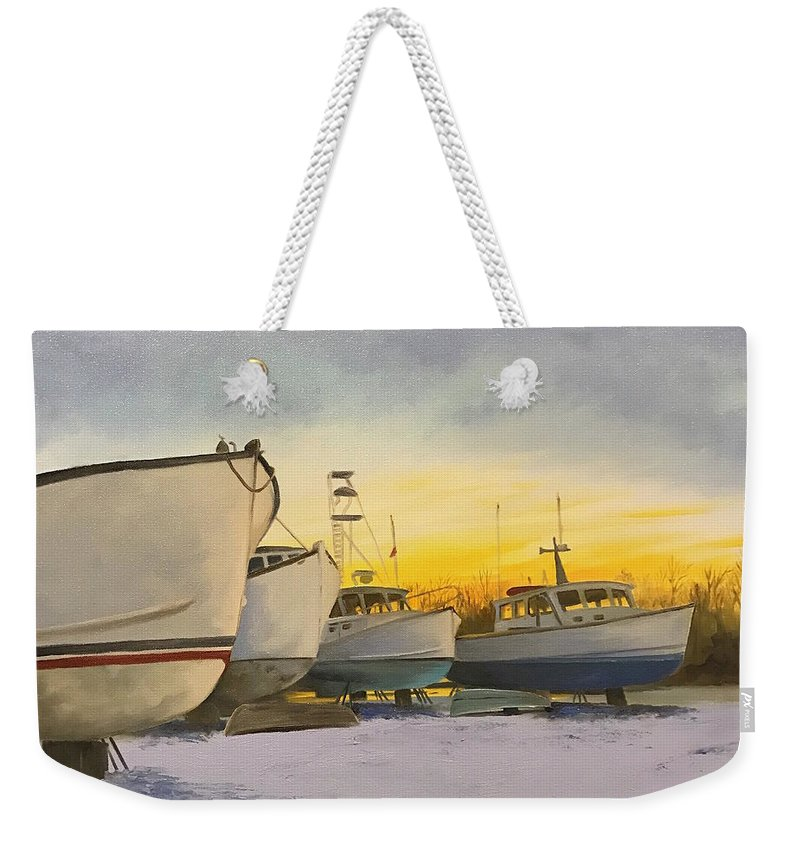 Boats Weekender Tote Bag featuring the painting Waiting For Summer by Lynn Ricci