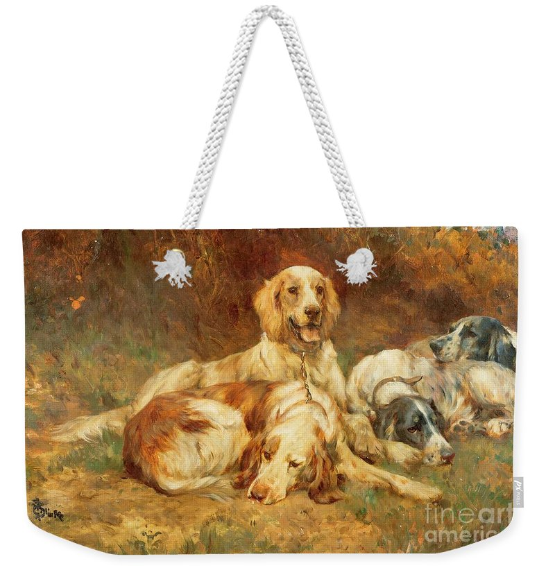 Waiting Weekender Tote Bag featuring the painting Waiting For The Guns by Thomas Blinks