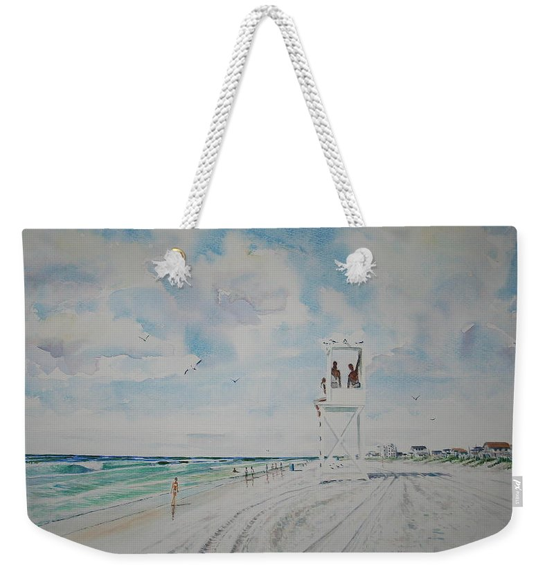 Ocean Weekender Tote Bag featuring the painting Waiting For The Lifeguard by Tom Harris