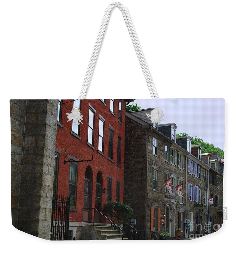 Architecture Weekender Tote Bag featuring the photograph Waiting For The Shoppers by Lori Tambakis