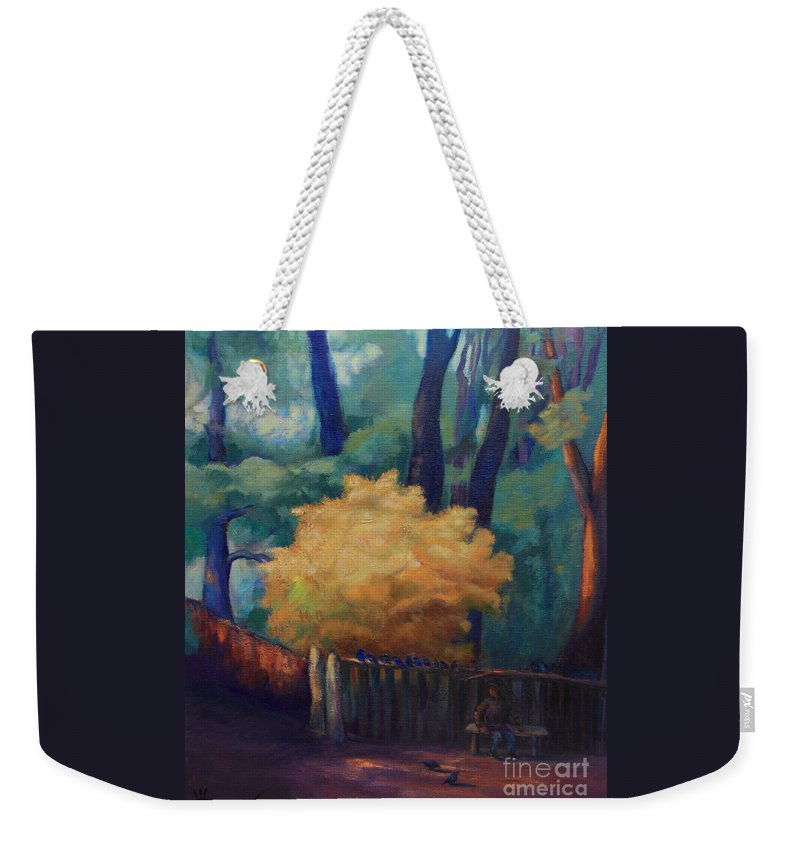 Trees Weekender Tote Bag featuring the painting Waiting For The Sun by Maris Salmins