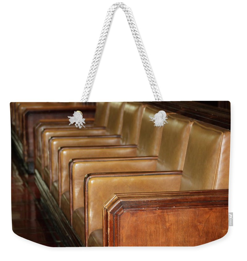 Rows Of Seats Weekender Tote Bag featuring the photograph Waiting For The Train... by Rose Webber Hawke