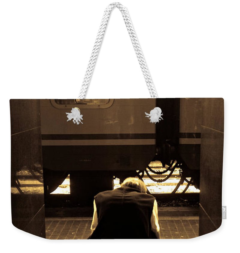 Train Weekender Tote Bag featuring the photograph Waiting For The Train by Scott Sawyer