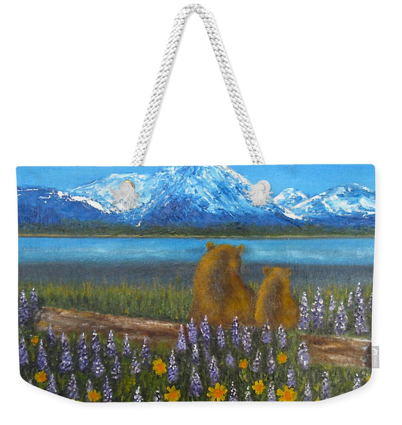 Landscape Weekender Tote Bag featuring the painting Waiting, 12x16, Oil, '07 by Lac Buffamonti