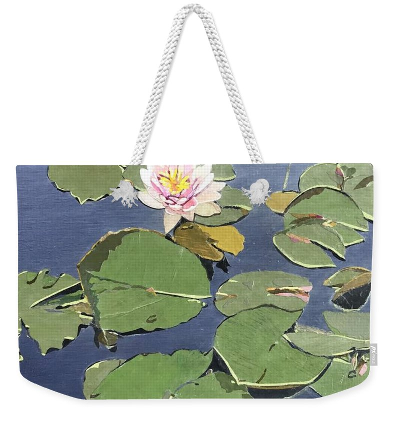 Recycled Weekender Tote Bag featuring the painting Waiting Lotus by Leah Tomaino