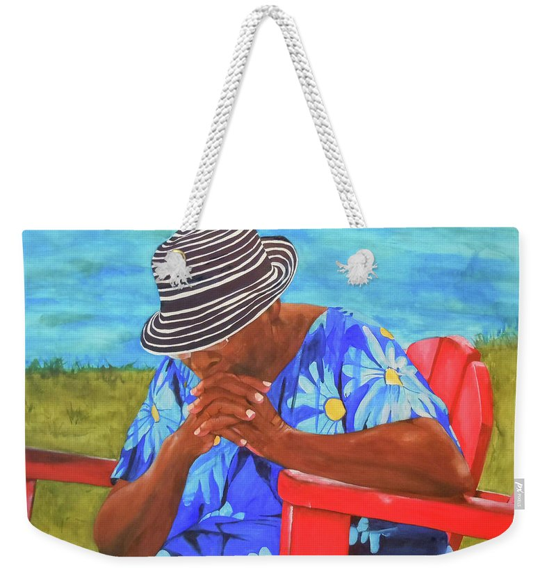 Caribbean Weekender Tote Bag featuring the painting Waiting Patiently by Jean Blackmer