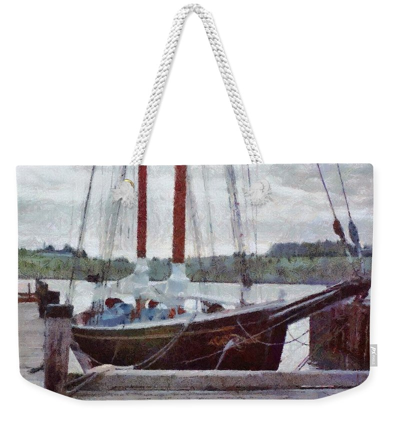 Canadian Weekender Tote Bag featuring the painting Waiting To Sail by Jeffrey Kolker