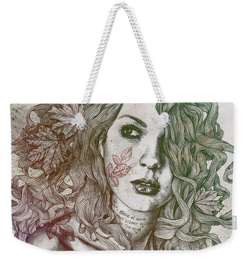 Graffiti Weekender Tote Bag featuring the drawing Wake - Autumn - Street Art Woman With Maple Leaves Tattoo by Marco Paludet