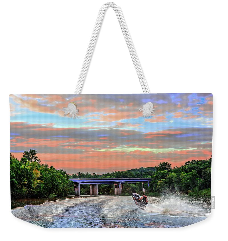 Action Weekender Tote Bag featuring the photograph Wake Jumper by Robert FERD Frank