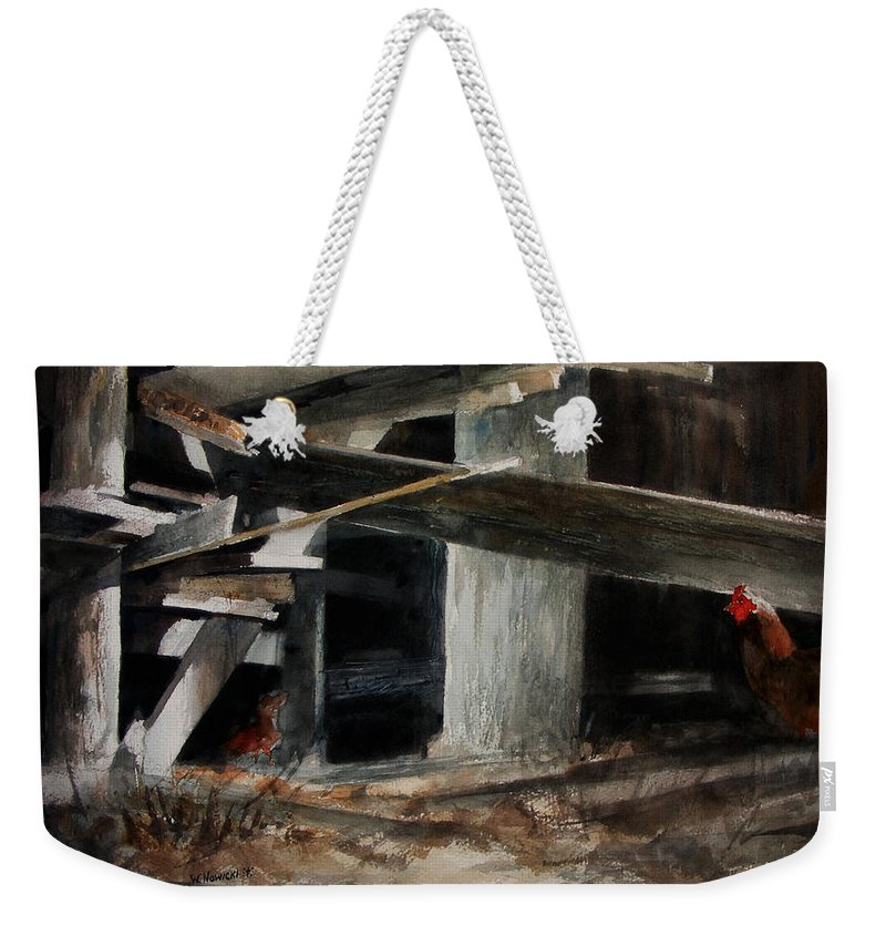 Landscape Weekender Tote Bag featuring the painting Wakeup Call by Rachel Christine Nowicki