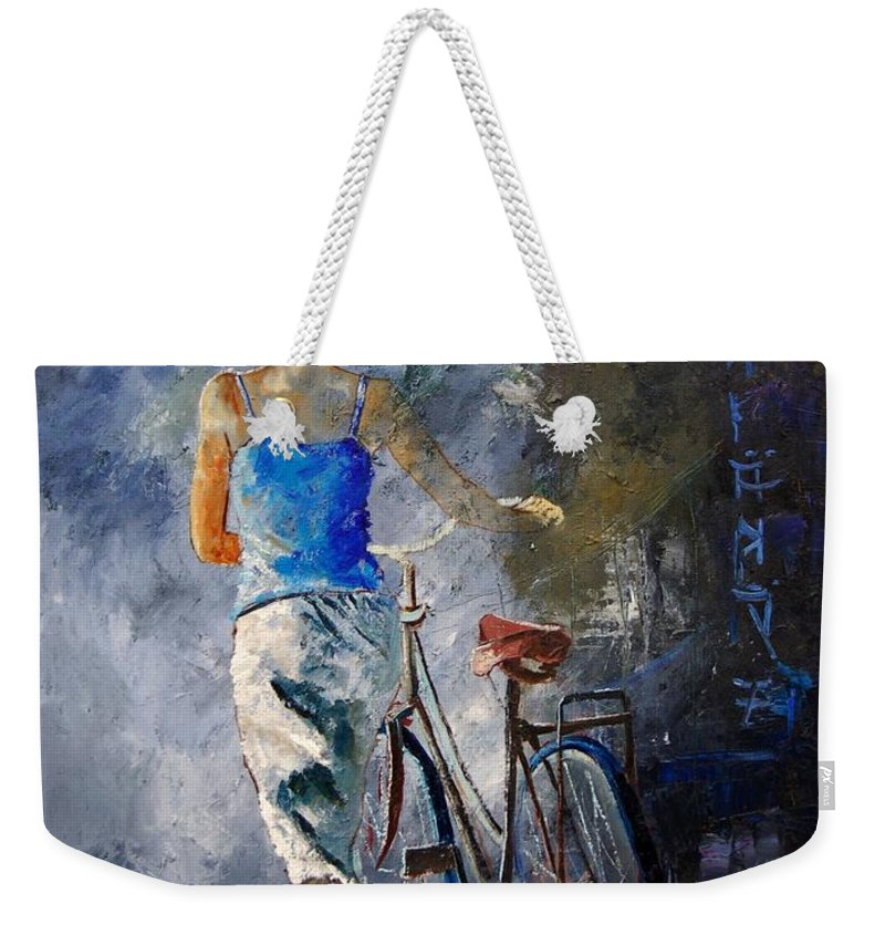 Girl Weekender Tote Bag featuring the painting Waking Aside Her Bike 68 by Pol Ledent