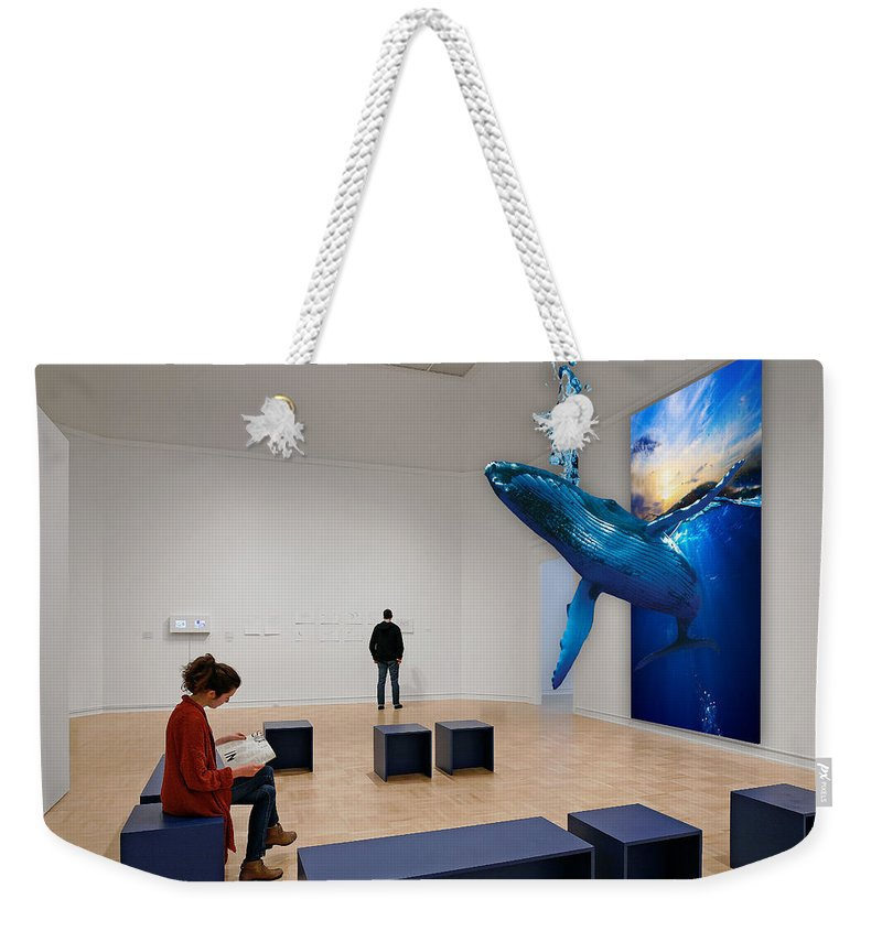 Whale Weekender Tote Bag featuring the mixed media Whale Watching by Marvin Blaine