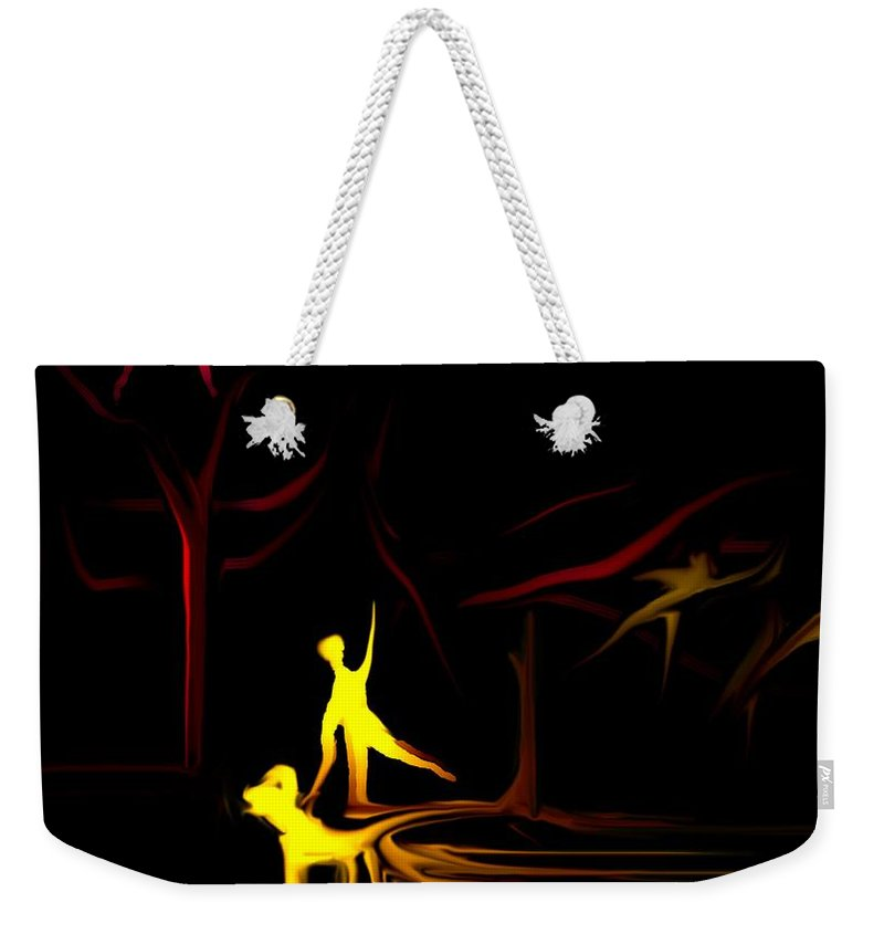 Abstract Digital Painting Weekender Tote Bag featuring the digital art Walk In The Dog Park by David Lane