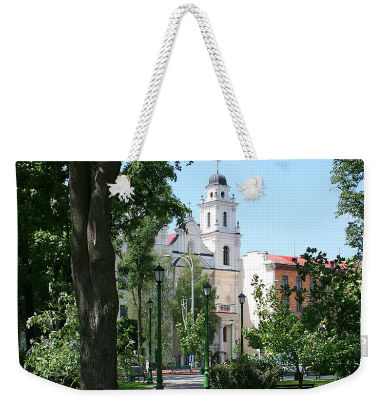 Park City Tree Trees Flowers Church Building Summer Blue Sky Green Walk Bench Weekender Tote Bag featuring the photograph Walk In The Park by Andrei Shliakhau