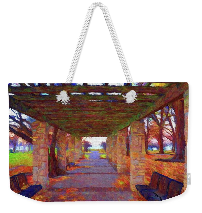 Autumn Weekender Tote Bag featuring the painting Walk In The Park by Jeffrey Kolker