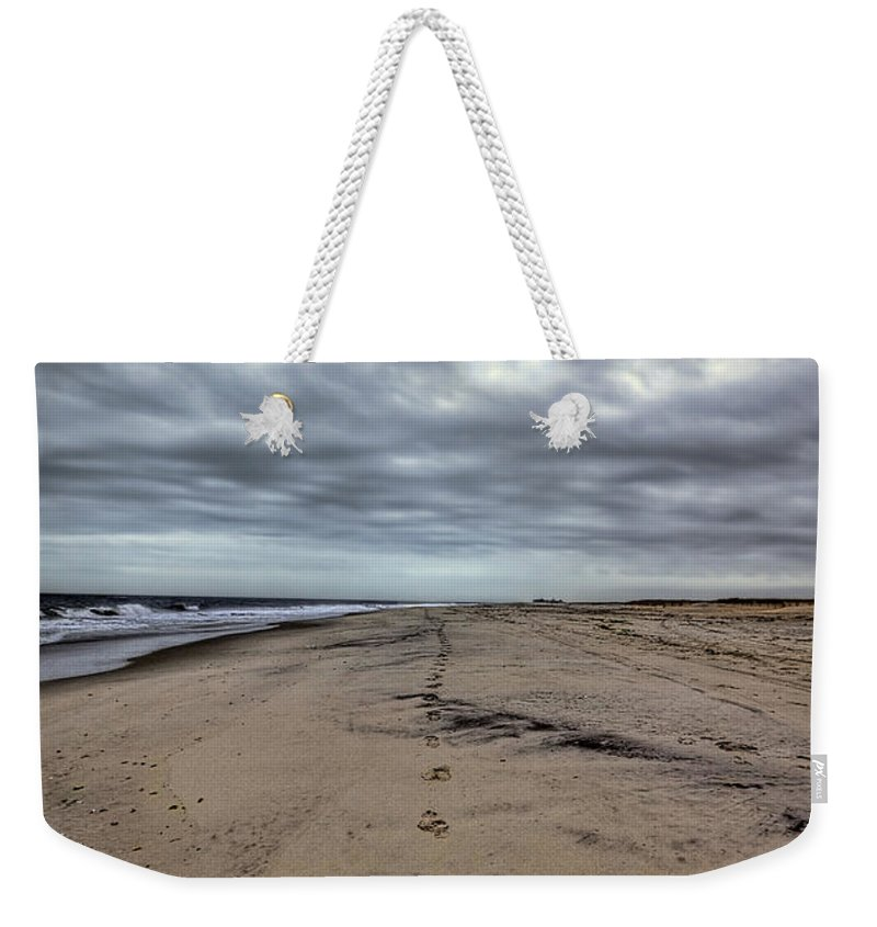 Beach Weekender Tote Bag featuring the photograph Walk The Line by Evelina Kremsdorf