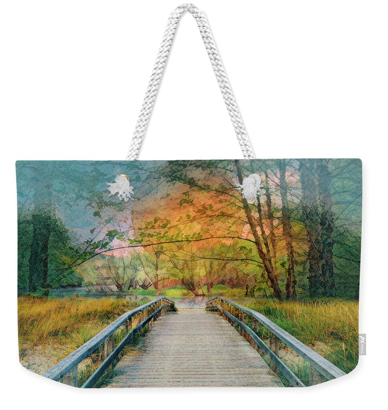 Appalachia Weekender Tote Bag featuring the photograph Walk To The Lake In Watercolors by Debra and Dave Vanderlaan