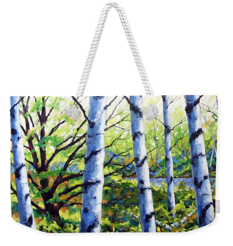 Lake Weekender Tote Bag featuring the painting Walk To The Lake by Richard T Pranke