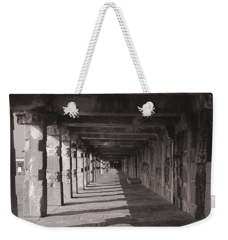 Krishnan Srinivasan Weekender Tote Bag featuring the photograph Walk Way - Belur by Krishnan Srinivasan