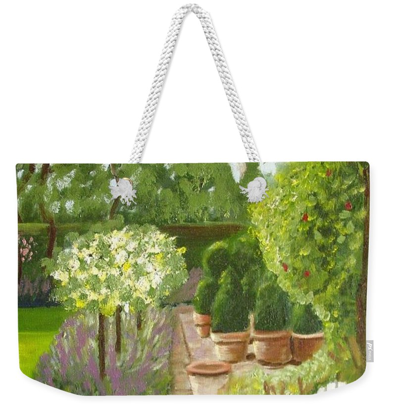 Garden Weekender Tote Bag featuring the painting Walk With Me by Laurie Morgan