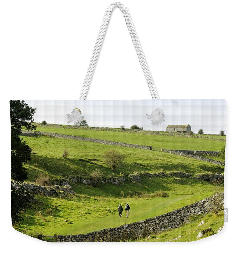 Lathkill Dale Weekender Tote Bag featuring the photograph Walkers At Lathkill Dale by Rod Johnson