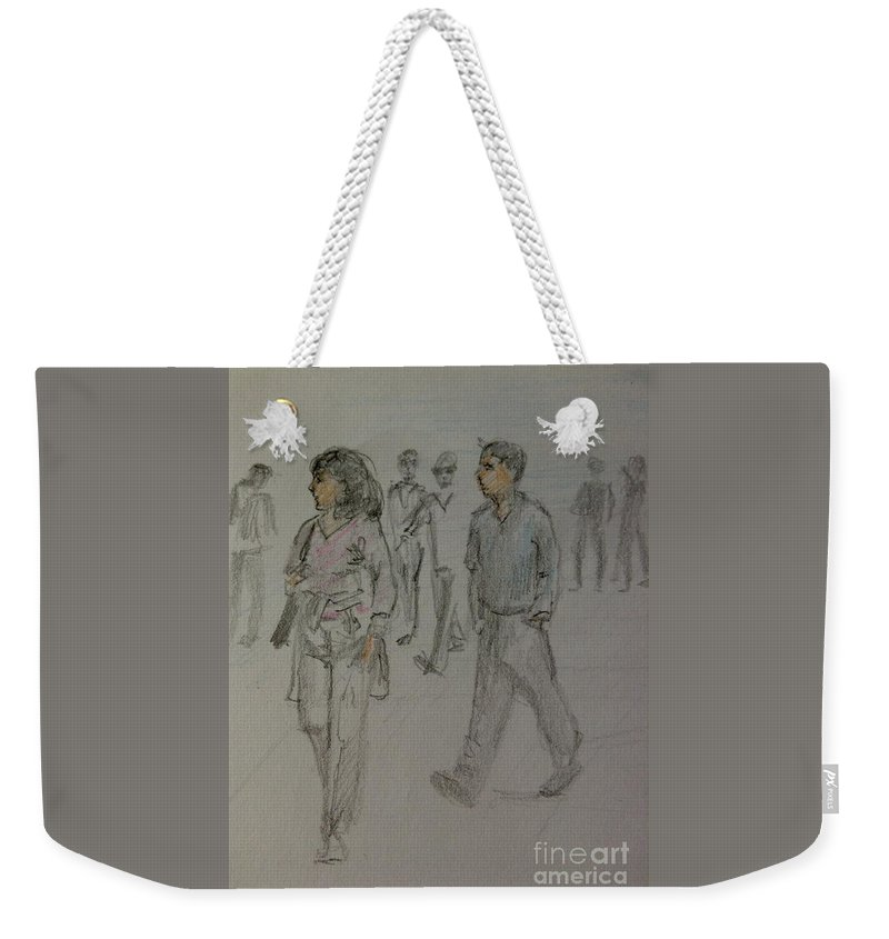 The Strand Weekender Tote Bag featuring the drawing Walking Along The Strand by Joan-Violet Stretch